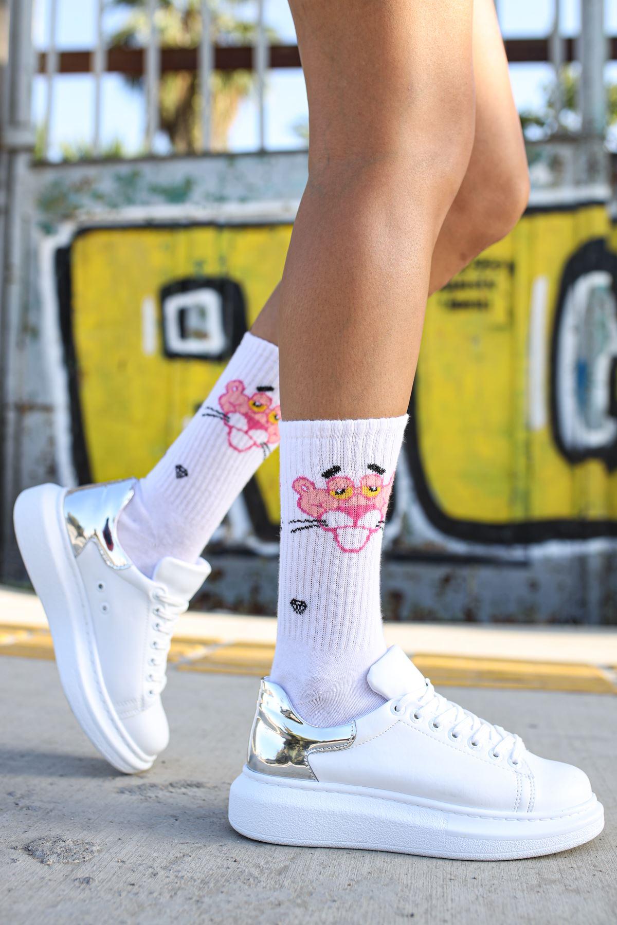 Chekich CH259 BT Kadın Ayakkabı BEYAZ/GUMUS