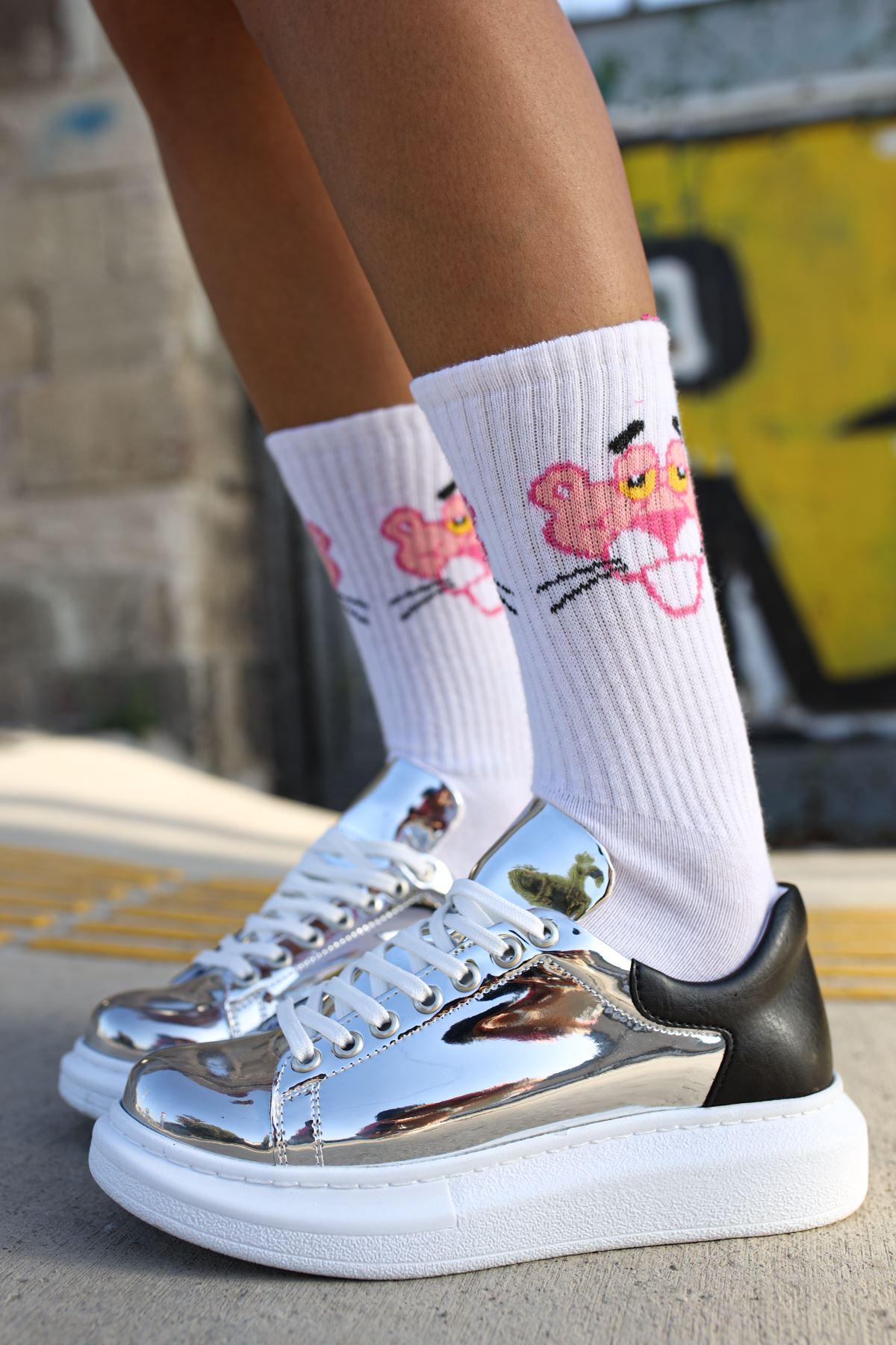 Chekich CH259 BT Kadın Ayakkabı GUMUS/SİYAH