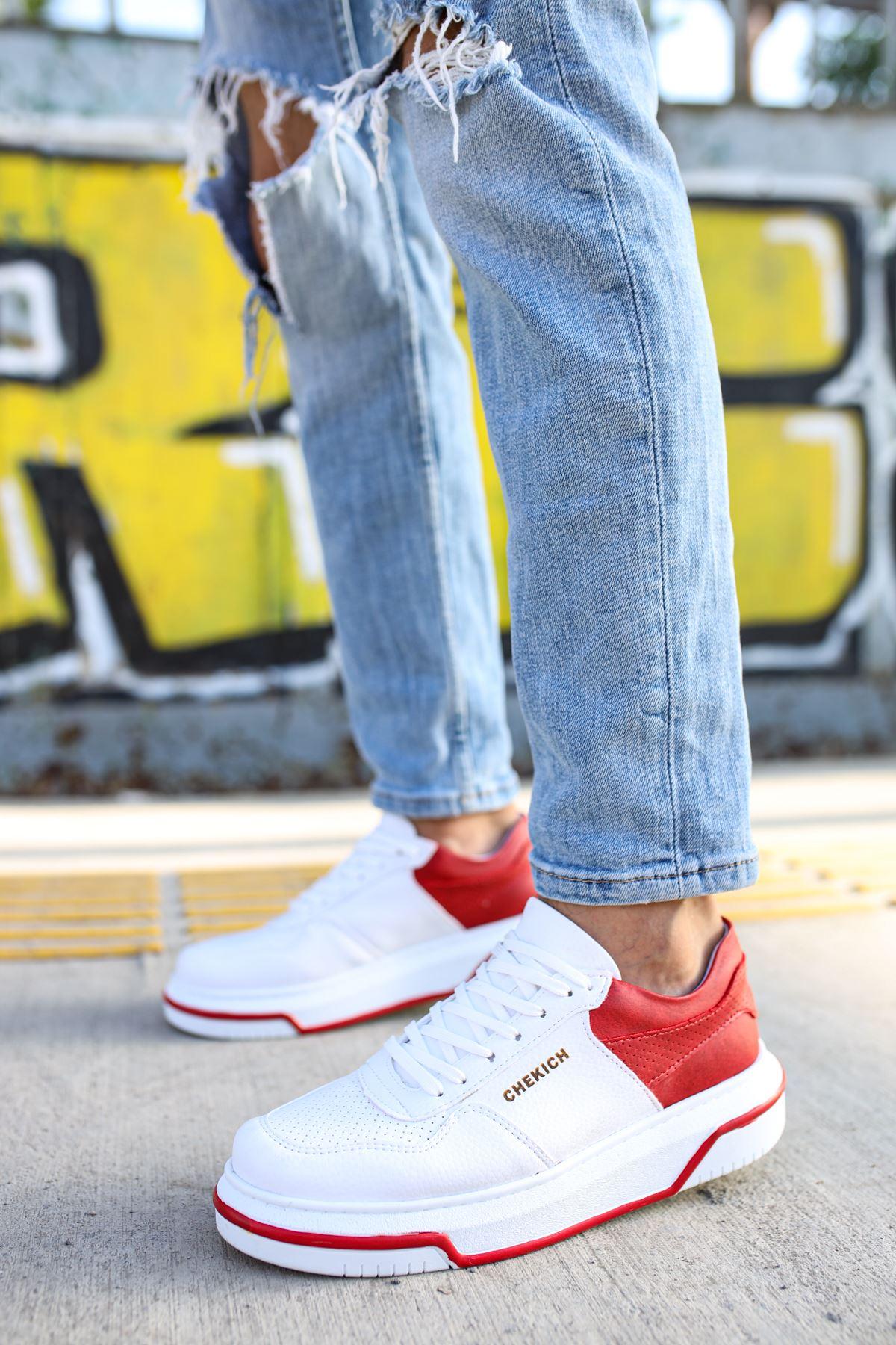 Chekich CH075 İpekyol Beyaz Taban Erkek Ayakkabı BEYAZ/KIRMIZI
