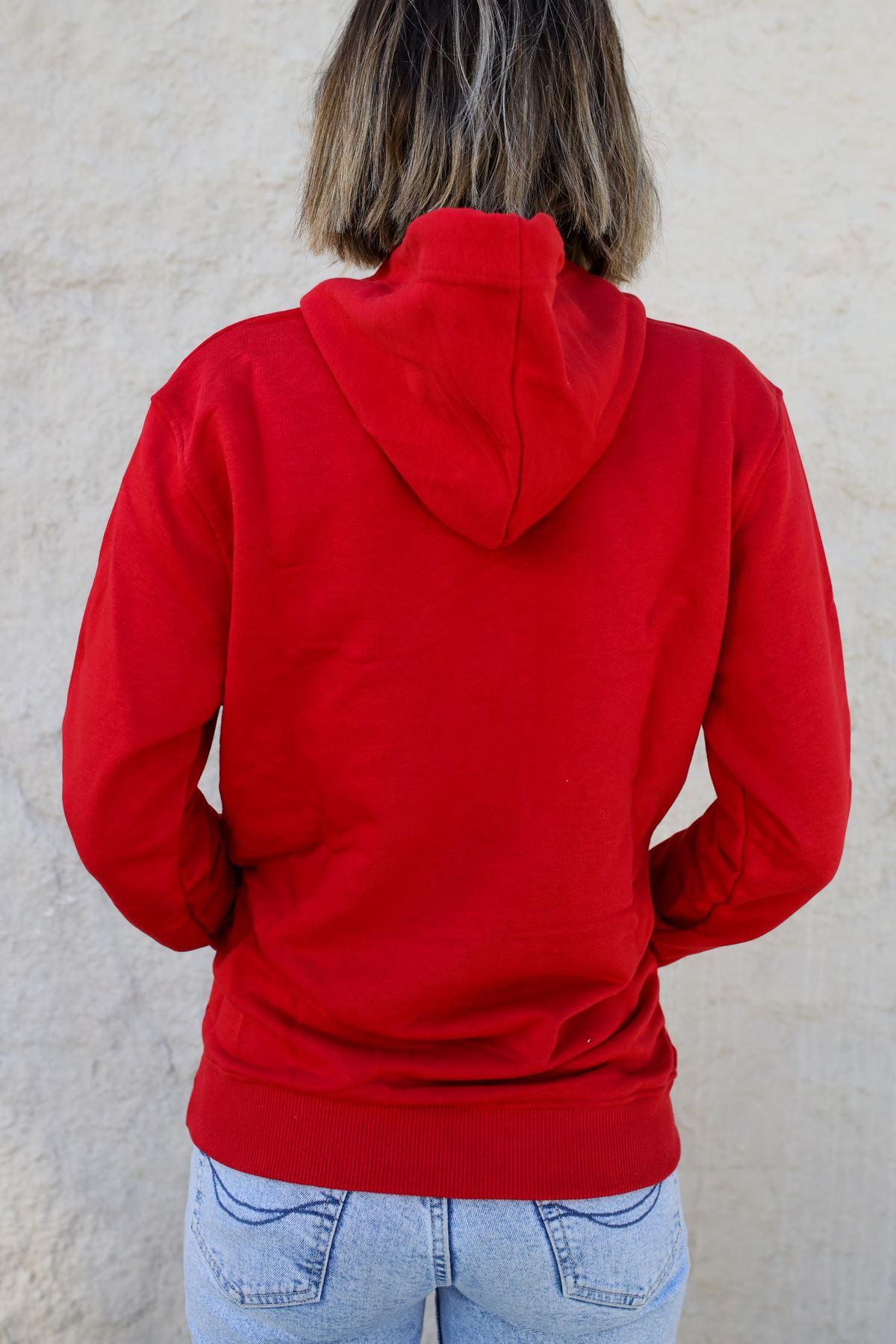 Kapüşonlu Kadın Sweatshirt KIRMIZI