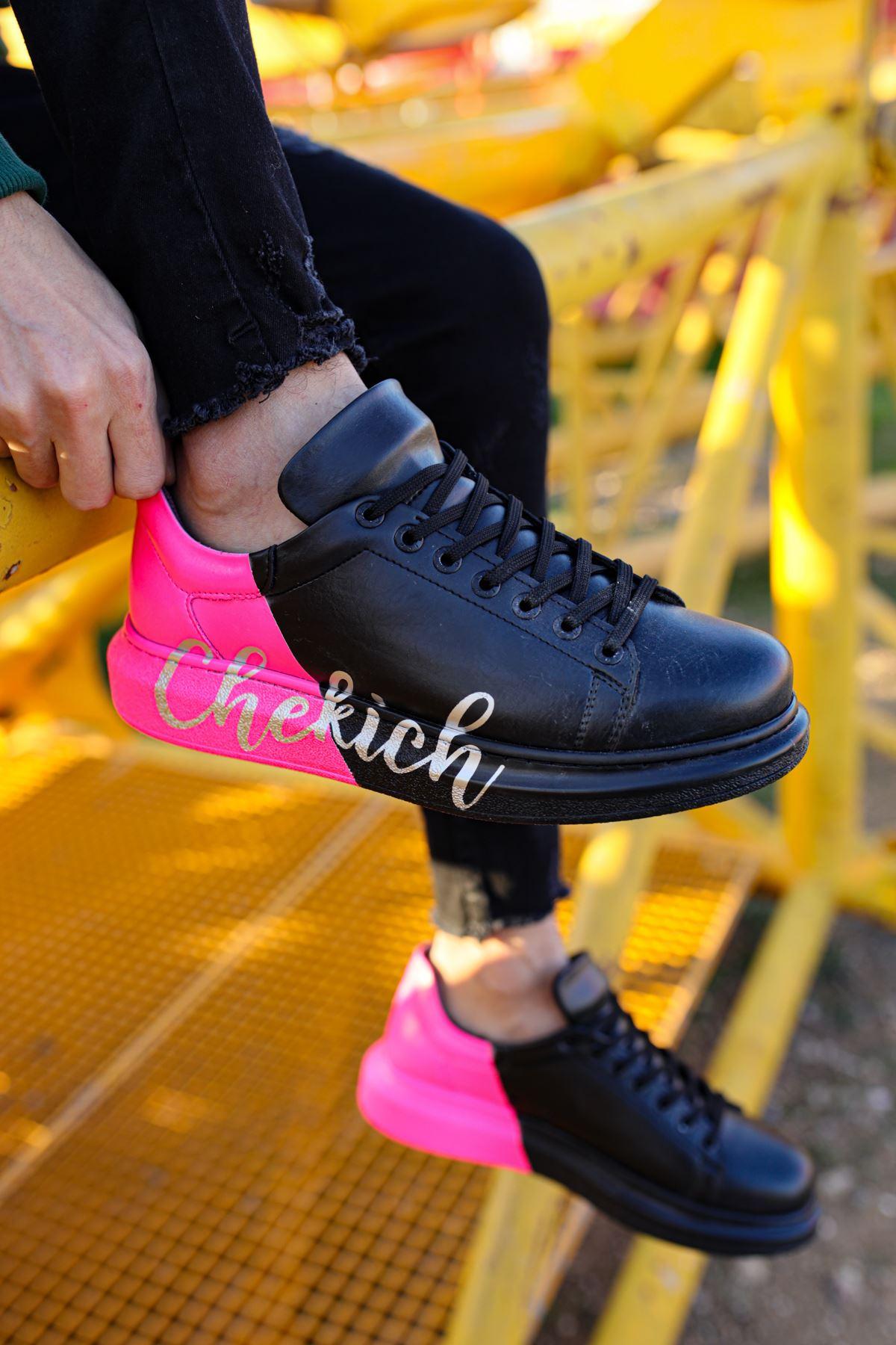 Chekich CH254 ST Erkek Ayakkabı 477 SİYAH / PEMBE  CHEKICH