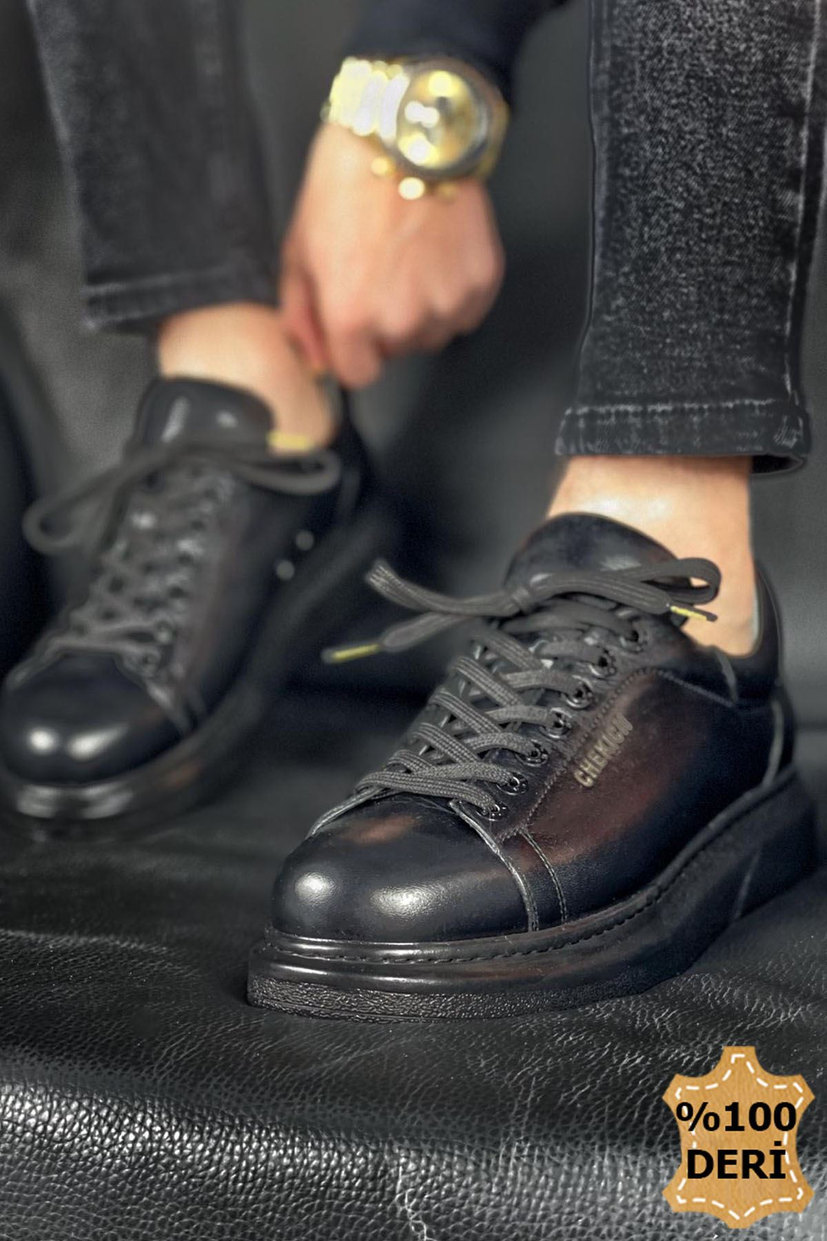 Chekich CH257 ST Hakiki Deri Erkek Ayakkabı SIYAH