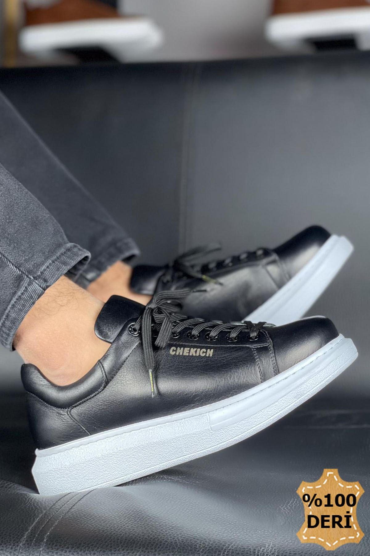 Chekich CH257 BT Hakiki Deri Erkek Ayakkabı SIYAH