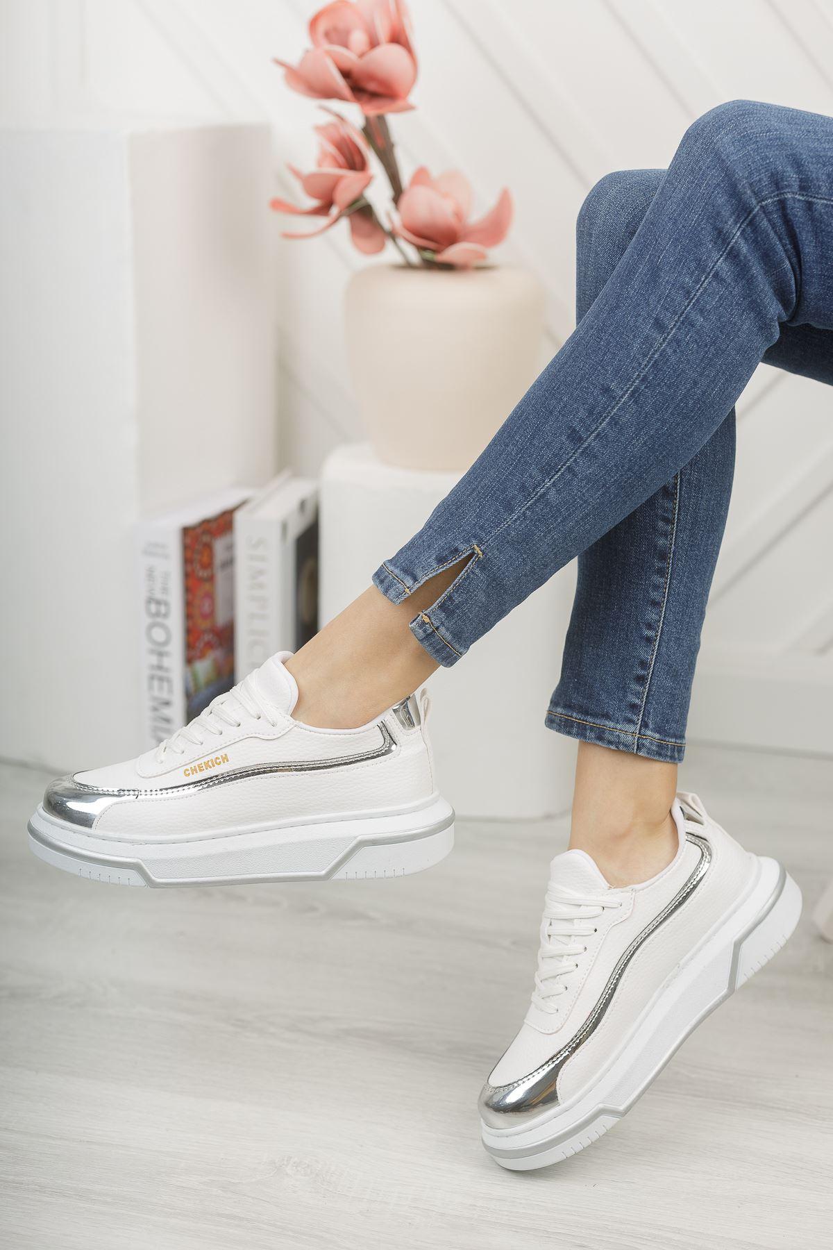 Chekich CH041 BT Kadın Ayakkabı BEYAZ/GUMUS