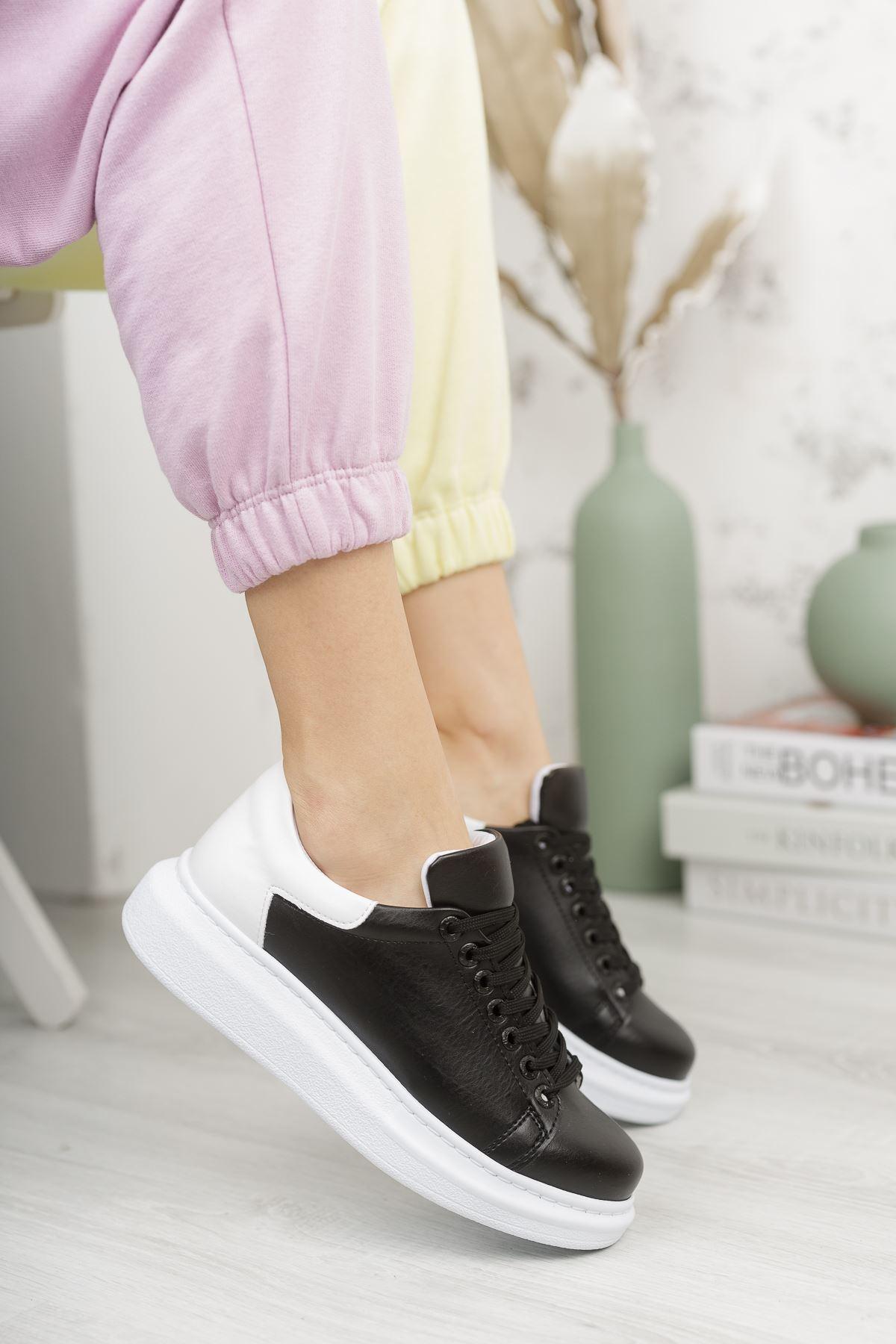 Chekich CH256 BT Kadın Ayakkabı SİYAH/BEYAZ