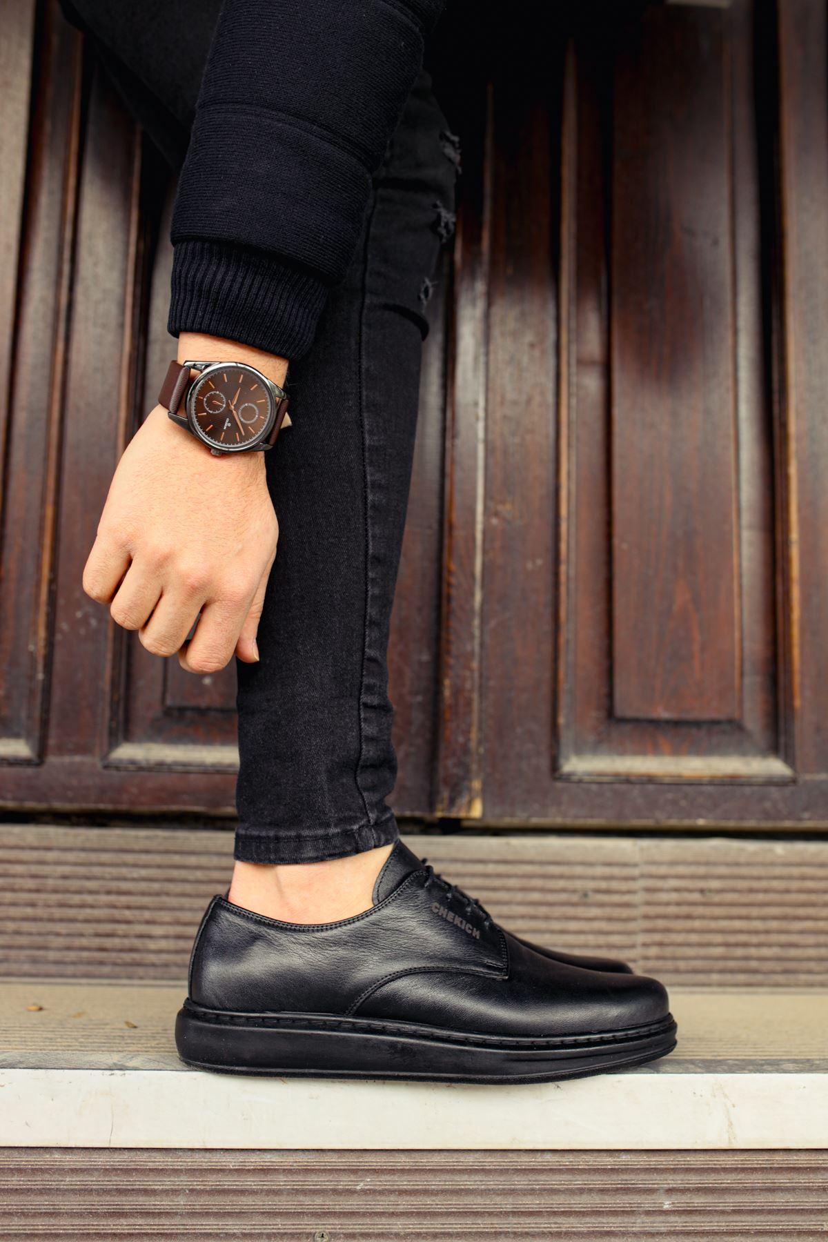 Chekich CH003 ST Hakiki Deri Erkek Ayakkabı SIYAH