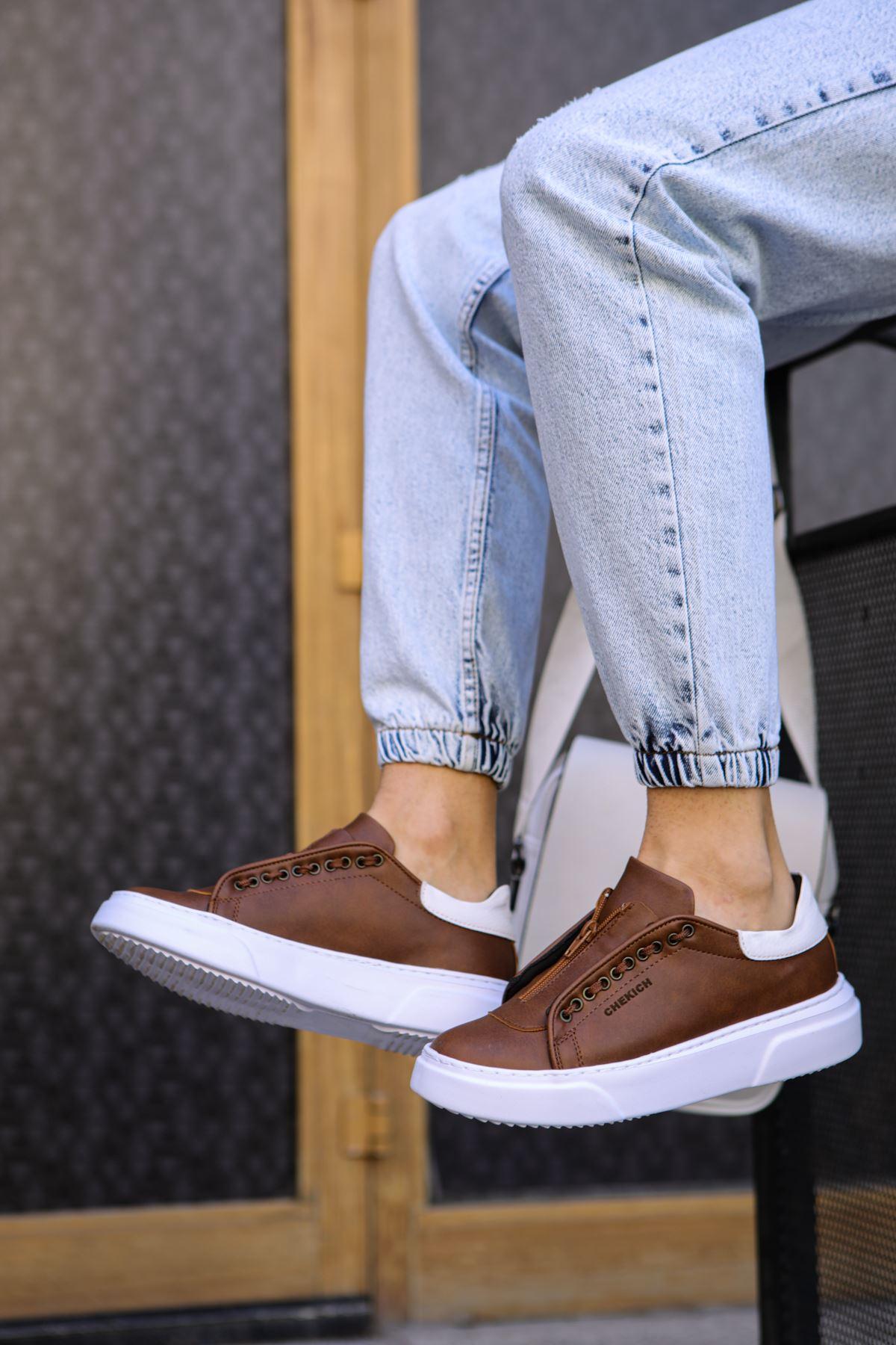 Chekich CH092 GBT Erkek Ayakkabı TABA/BEYAZ