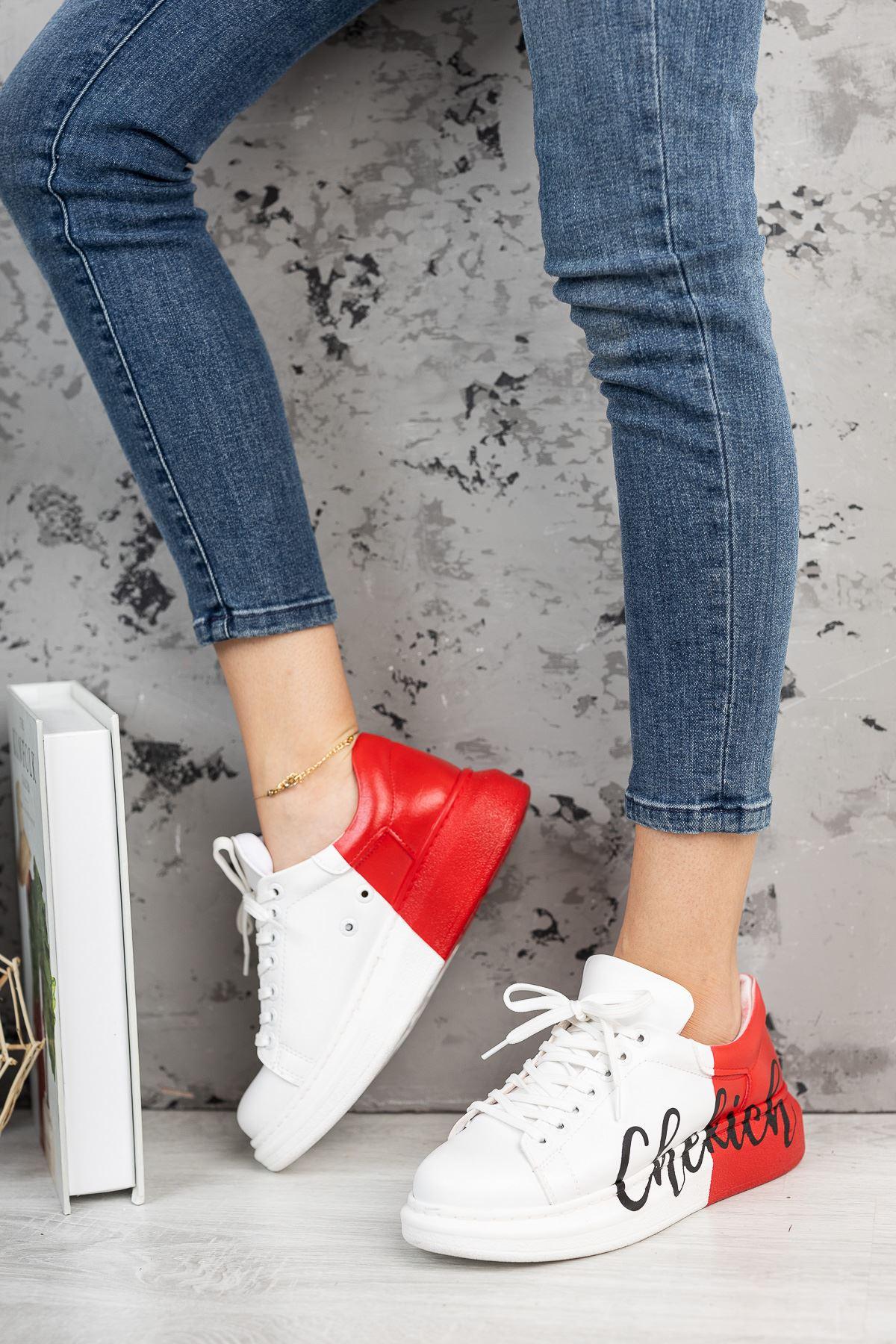 Chekich CH254 BT Kadın Ayakkabı 427 BEYAZ KIRMIZI CHEKICH